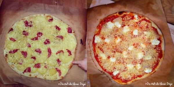 Die Welt der kleinen Dinge: Pizzateig Grundrezept und verschiedene Beläge