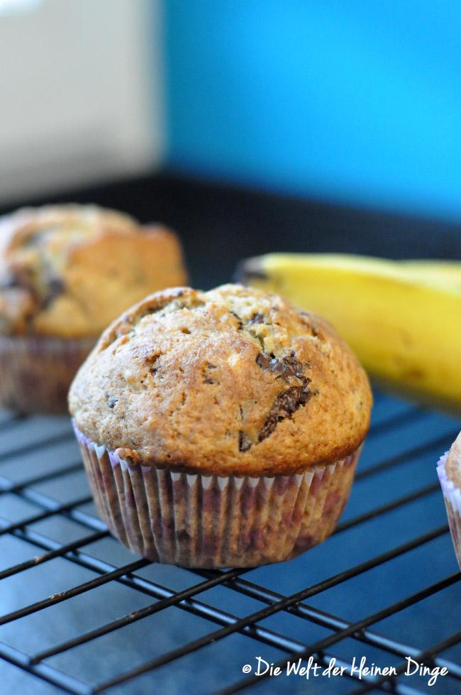 Bananen-Muffins mit Schokostückchen, Muffins, Bananenmuffins, Bananenverwertung, Schokostückchen, schnelle muffins, schnelle bananenmuffins
